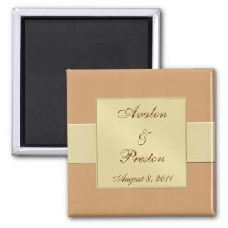 Gold Ribbon Creme Save The Date Magnet