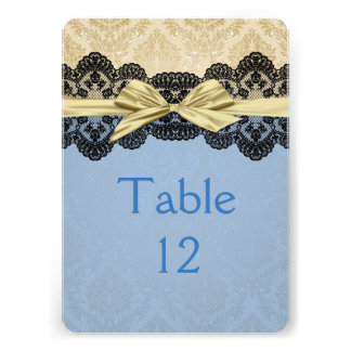 Gold Ribbon Damask Lace Blue Table card