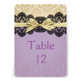 Gold Ribbon Damask Lace Lavender Table card