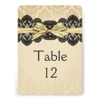 Gold Ribbon Damask Lace Table card