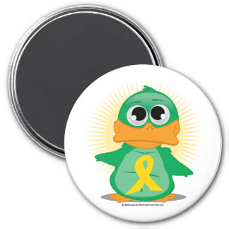 Gold Ribbon Duck 3 Inch Round Magnet