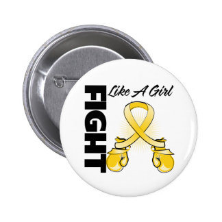 Gold Ribbon Fight Like A Girl 2 Inch Round Button