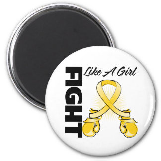 Gold Ribbon Fight Like A Girl 2 Inch Round Magnet