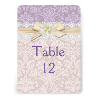 Gold Ribbon Floral Lavender Damask Table card
