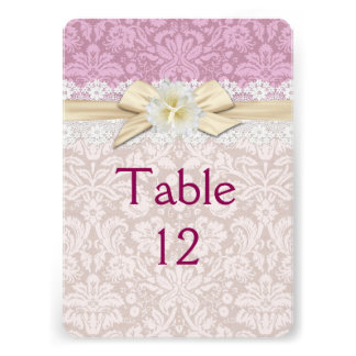 Gold Ribbon Floral Pink Damask Table card