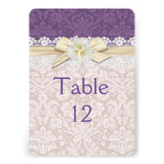 Gold Ribbon Floral Purple Damask Table card
