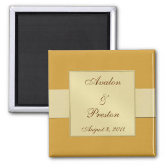 Gold Ribbon Gold Save The Date Magnet