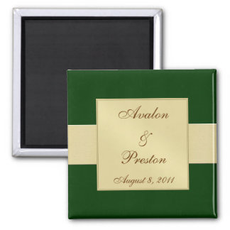 Gold Ribbon Green Save The Date Magnet
