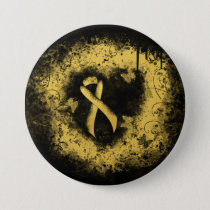 Gold Ribbon Grunge Heart Button