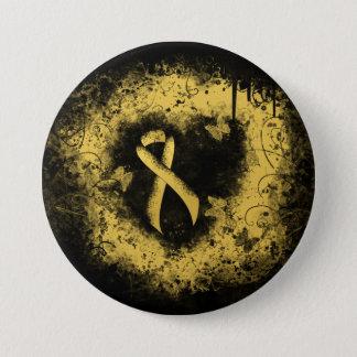 Gold Ribbon Grunge Heart Button