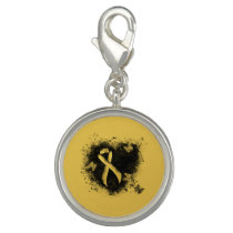 Gold Ribbon Grunge Heart Charm