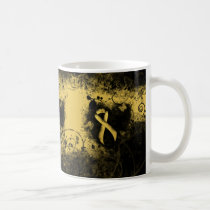 Gold Ribbon Grunge Heart Coffee Mug