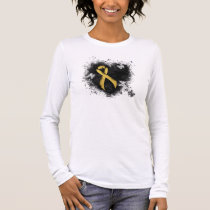 Gold Ribbon Grunge Heart Long Sleeve T-Shirt