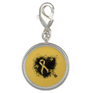Gold Ribbon Grunge Heart Charms