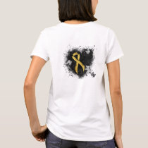 Gold Ribbon Grunge Heart T-Shirt