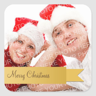 Gold ribbon holiday photo christmas gift tag label square stickers