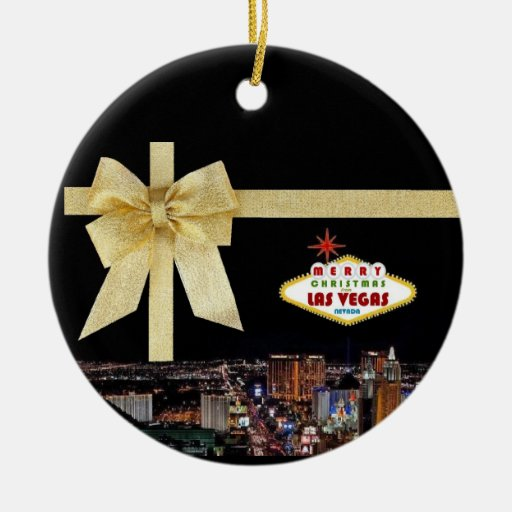 Gold Ribbon Las Vegas Christmas Ornament