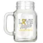 Gold Ribbon Love Hope Awareness Mason Jar