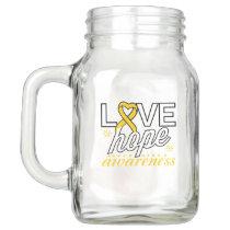 Gold Ribbon Love Hope Awareness Mason Jar