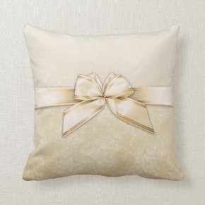 Gold Ribbon on Ivory Stars Pillows