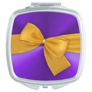 Gold Ribbon on Purple Compact Mirror