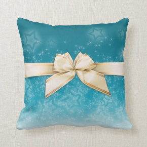 Gold Ribbon on Turquoise / Cream Stars Throw Pillow