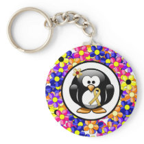 Gold Ribbon Penguin Keychain