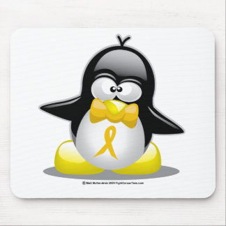 Gold Ribbon Penguin Mouse Pad