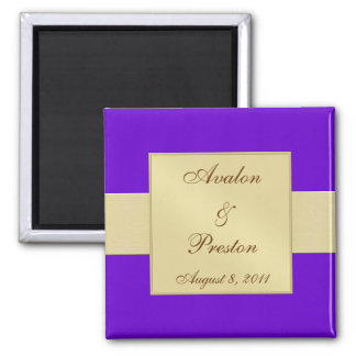 Gold Ribbon Purple Save The Date Magnet
