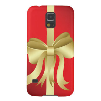 Gold Ribbon Red Christmas Holiday Present Galaxy S5 Cover