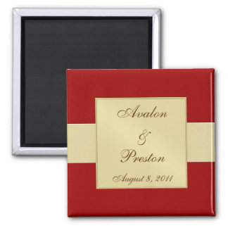 Gold Ribbon Red Save The Date Magnet