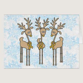 Gold Ribbon Reindeer Card