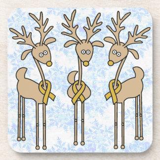Gold Ribbon Reindeer - Childhood Cancer Awareness Coaster