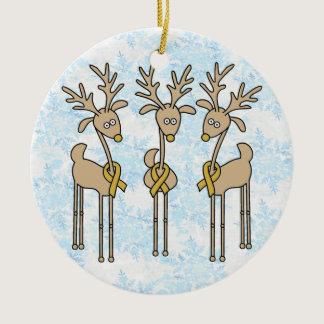 Gold Ribbon Reindeer (Childhood Cancer) Ceramic Ornament
