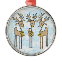 Gold Ribbon Reindeer (Childhood Cancer) Metal Ornament