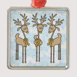 Gold Ribbon Reindeer (Childhood Cancer) Metal Ornament