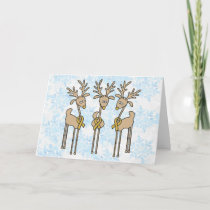 Gold Ribbon Reindeer Holiday Card