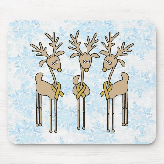 Gold Ribbon Reindeer Mouse Pad