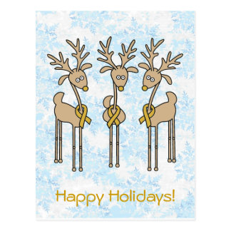 Gold Ribbon Reindeer Post Cards