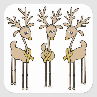 Gold Ribbon Reindeer Square Sticker