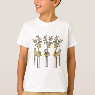 Gold Ribbon Reindeer T-Shirt
