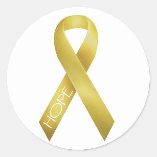 Gold Ribbon Round Sticker