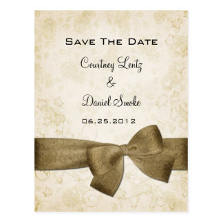Gold Ribbon Save The Date Postcard
