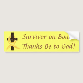 Gold Ribbon Survivor on Board bumper sticker