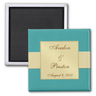 Gold Ribbon Teal Save The Date Magnet