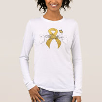 Gold Ribbon with Butterfly Long Sleeve T-Shirt