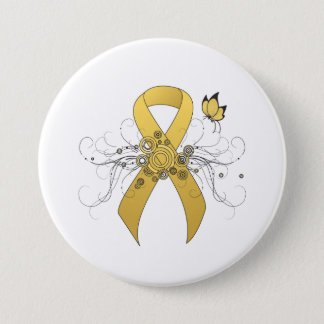 Gold Ribbon with Butterfly Pinback Button