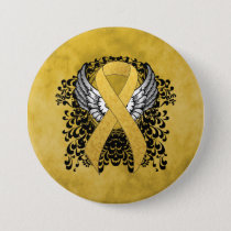 Gold Ribbon with Wings Button