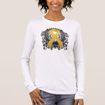 Gold Ribbon with Wings Long Sleeve T-Shirt