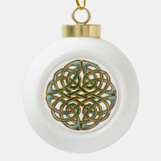 Gold rimmed green Celtic knot Ceramic Ball Christmas Ornament